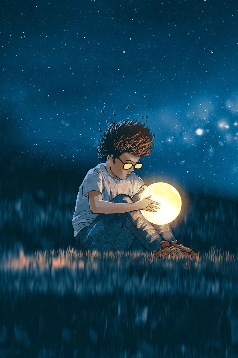 Illustration boy gazing into glowing ball