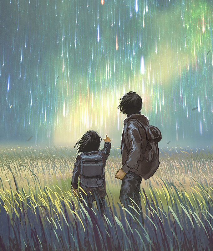 Illustration of children looking out at night sky