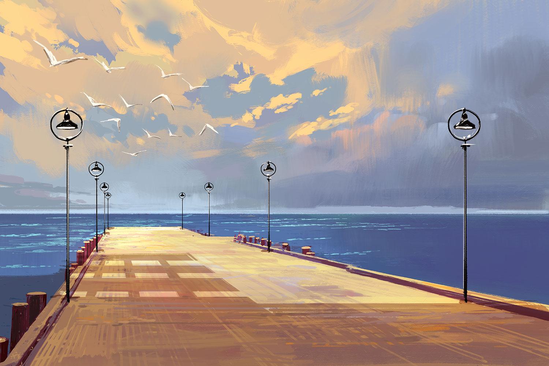 Illustration of pier on beach