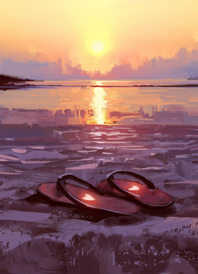 Illustration of sandals on a beach