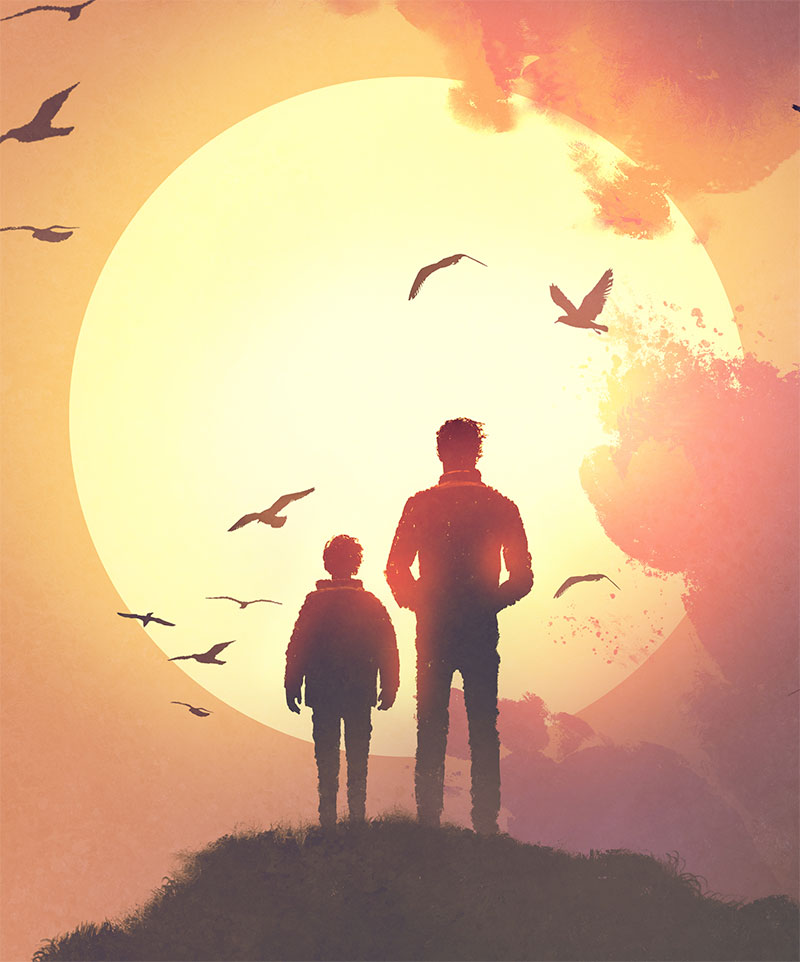 Illustration of parent and child watching sunset