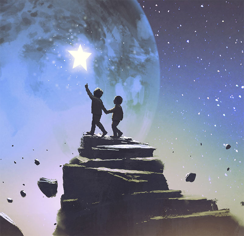 Illustration of siblings looking at moon