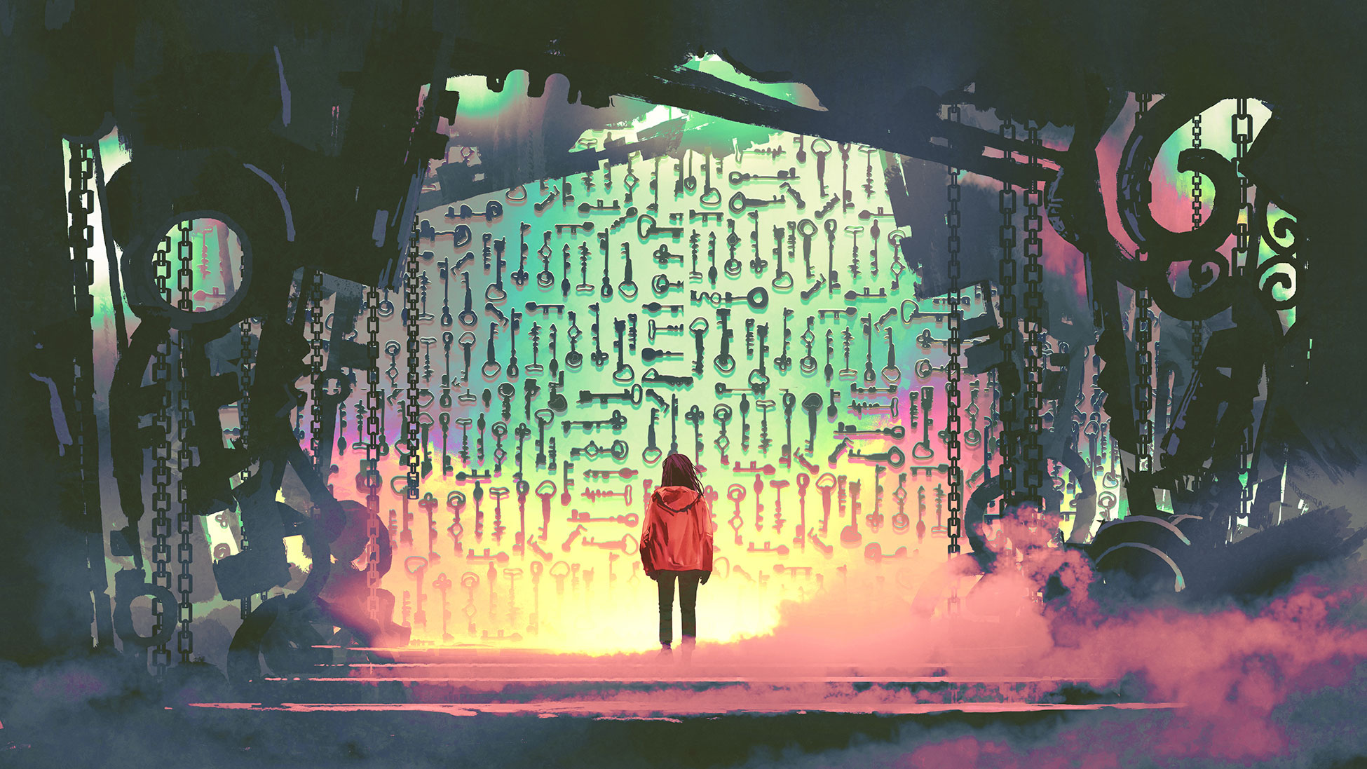 illustration girl standing at gate of keys