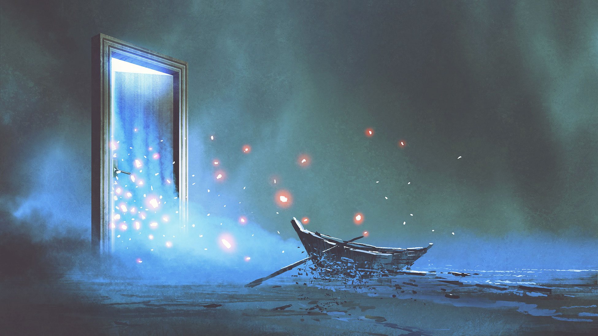 Illustration of boat and magical door