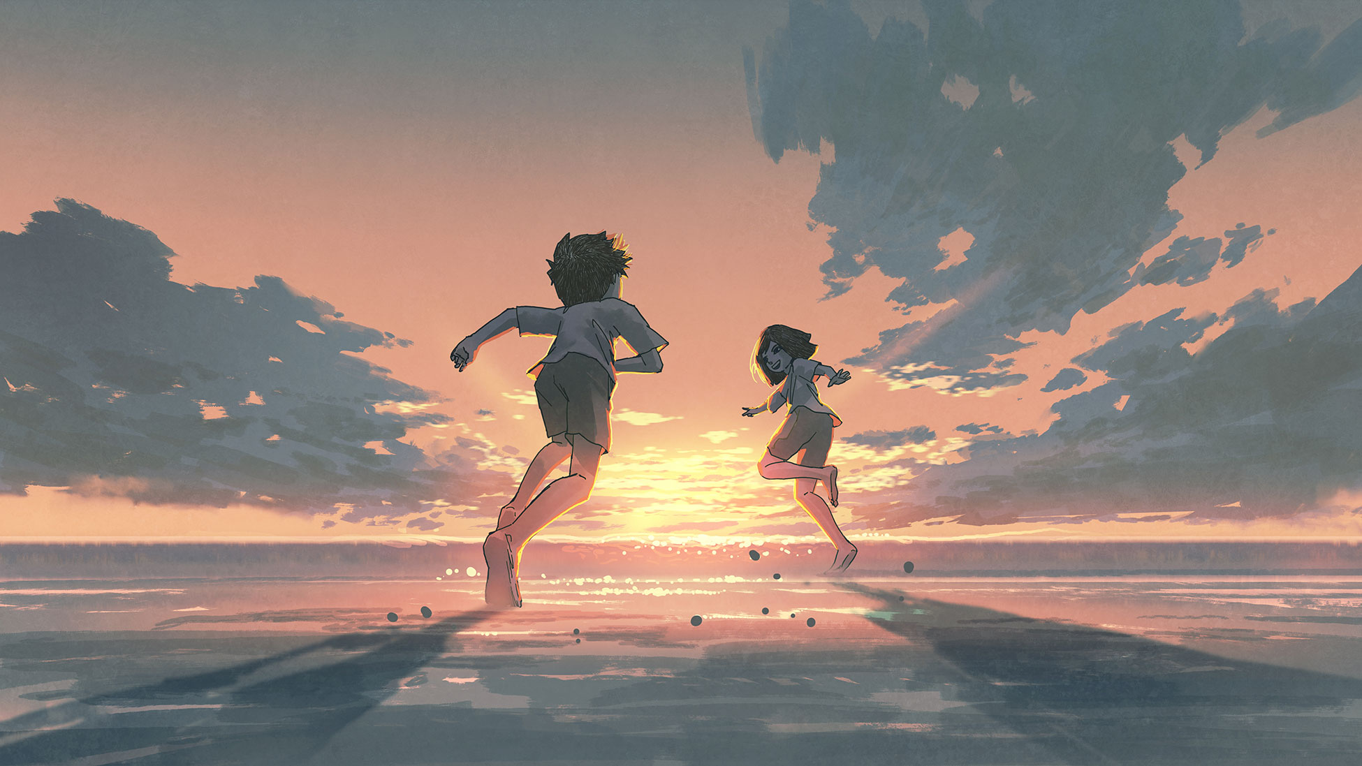 Illustration of two kids running on beach