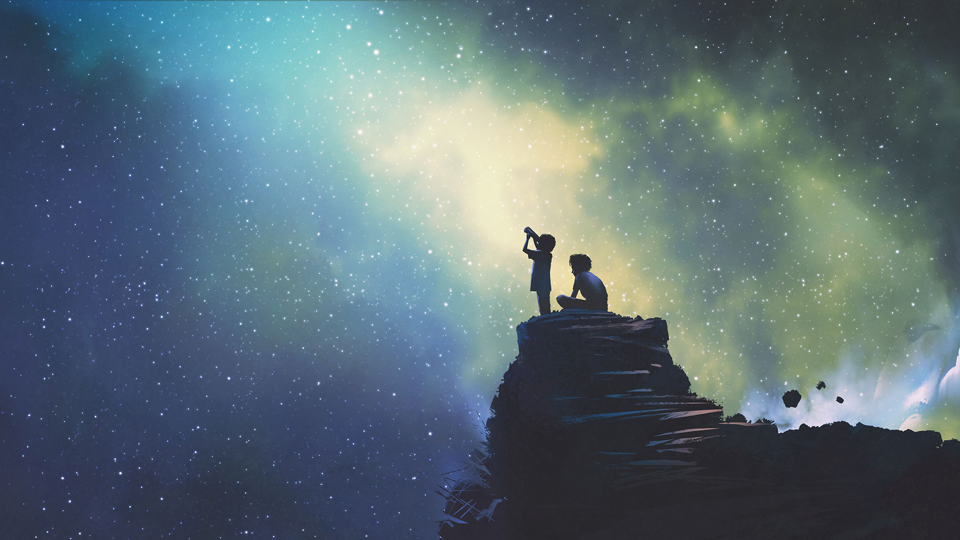 Illustration kids looking to the stars