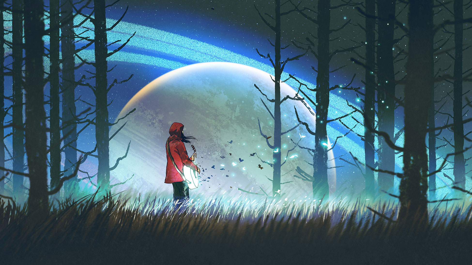 Illustration girl with guitar in woods