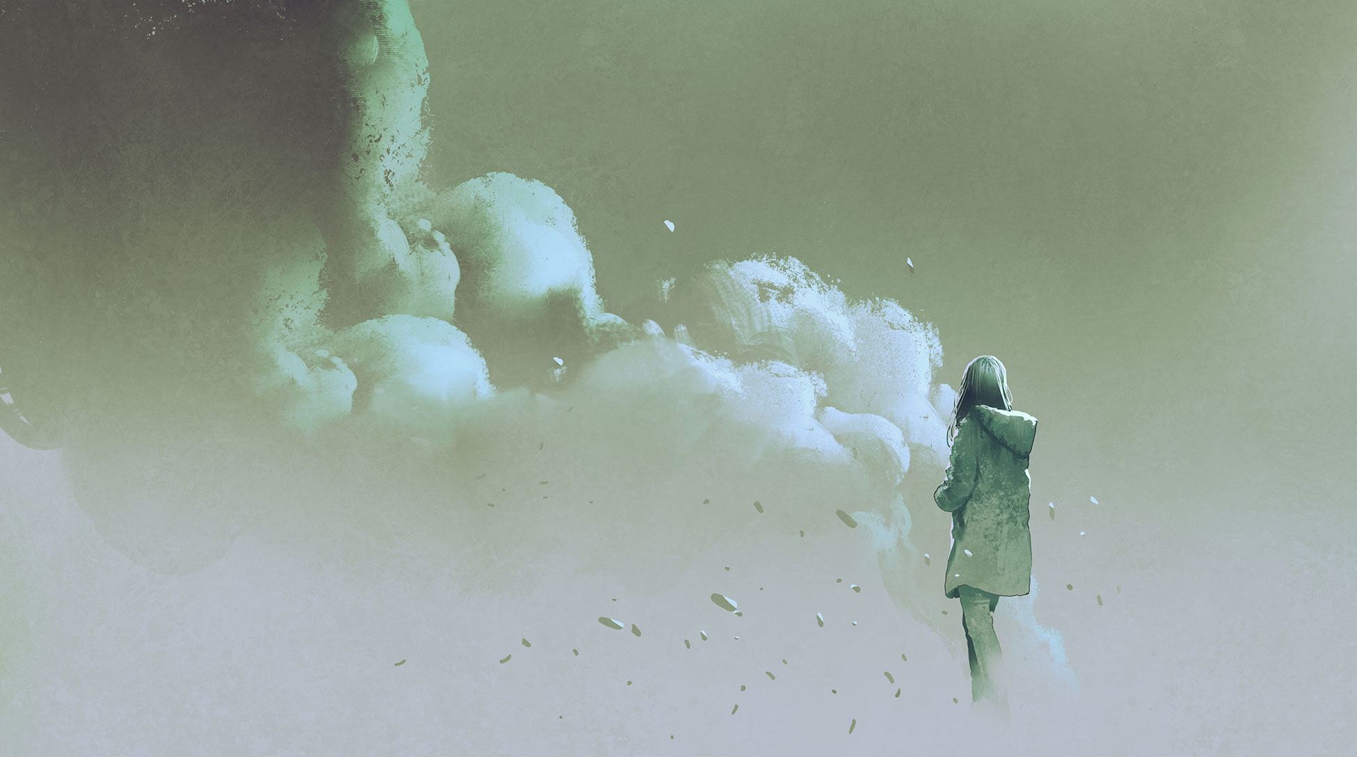 Illustration girl in clouds