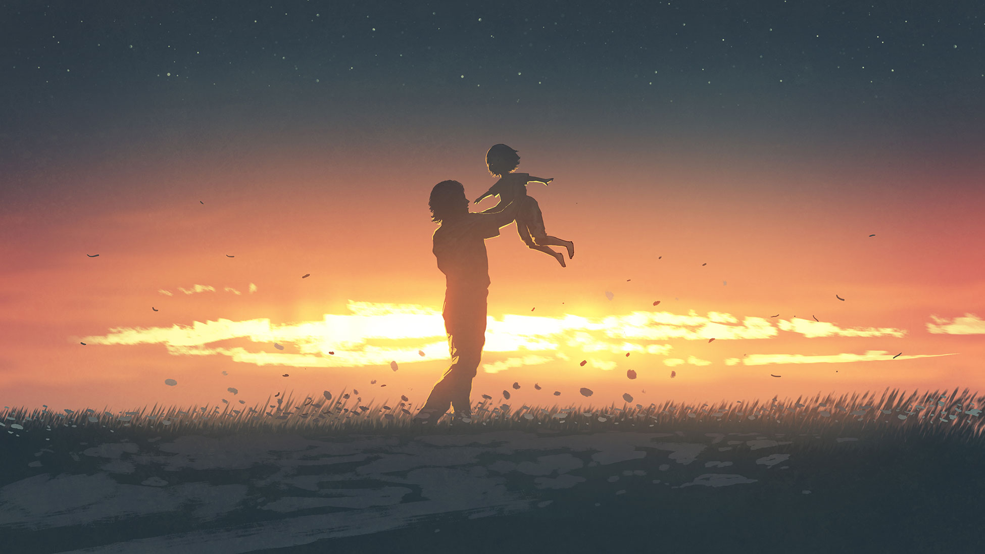 Illustration of parent holding child in the air