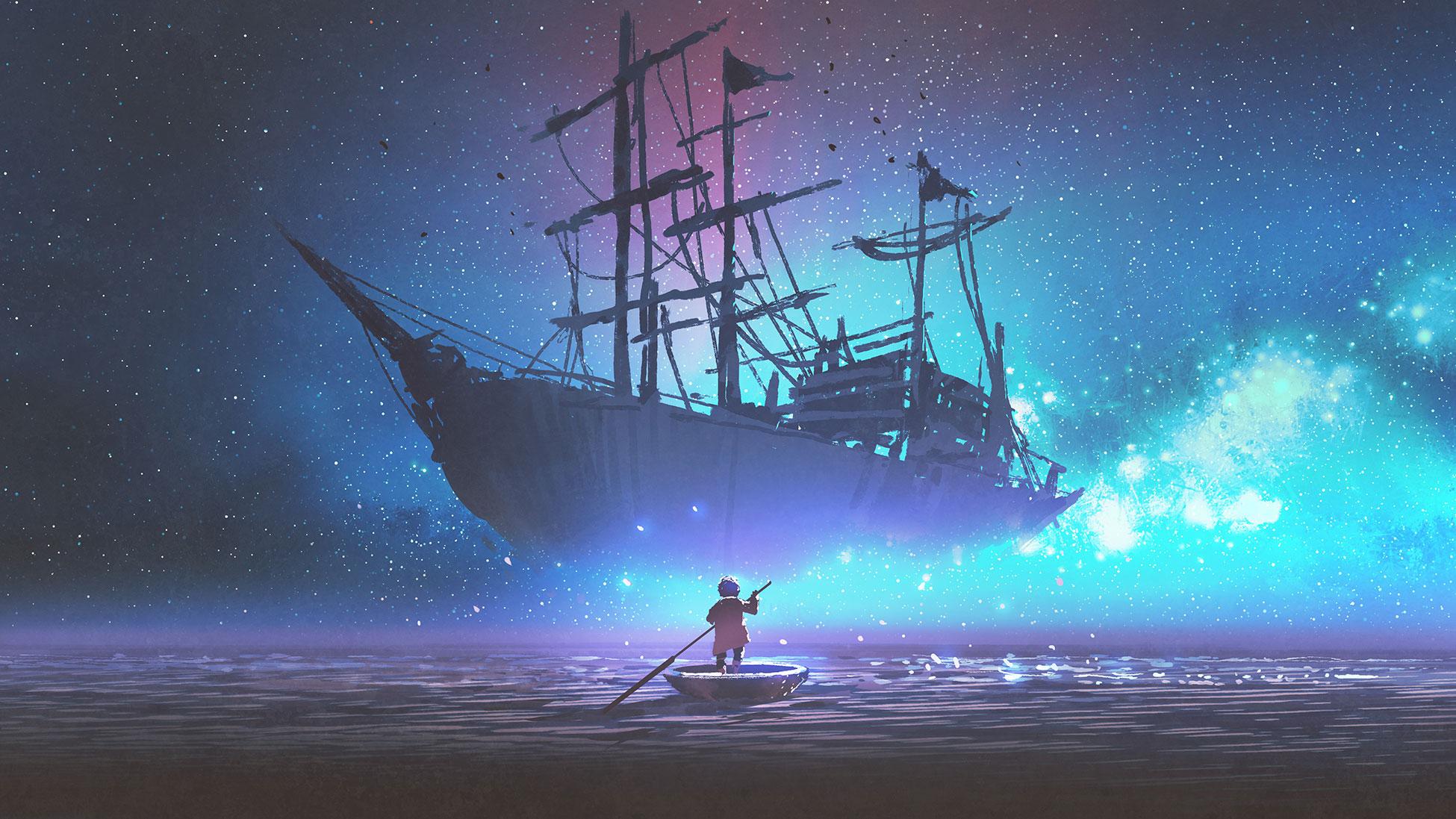 Illustration girl in boat
