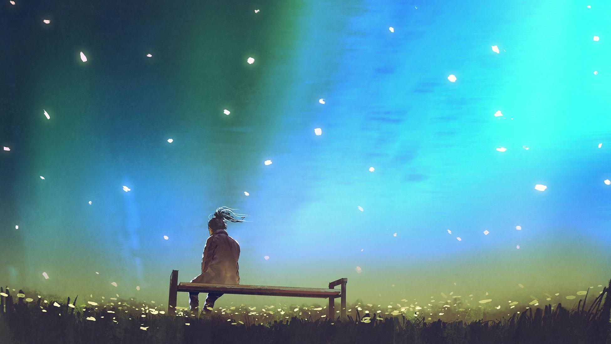 Illustration of teen sitting on bench under stars