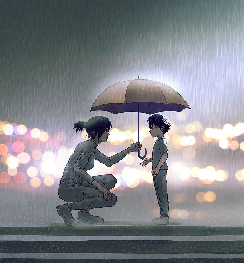Illustration of mom holding umbrella for son