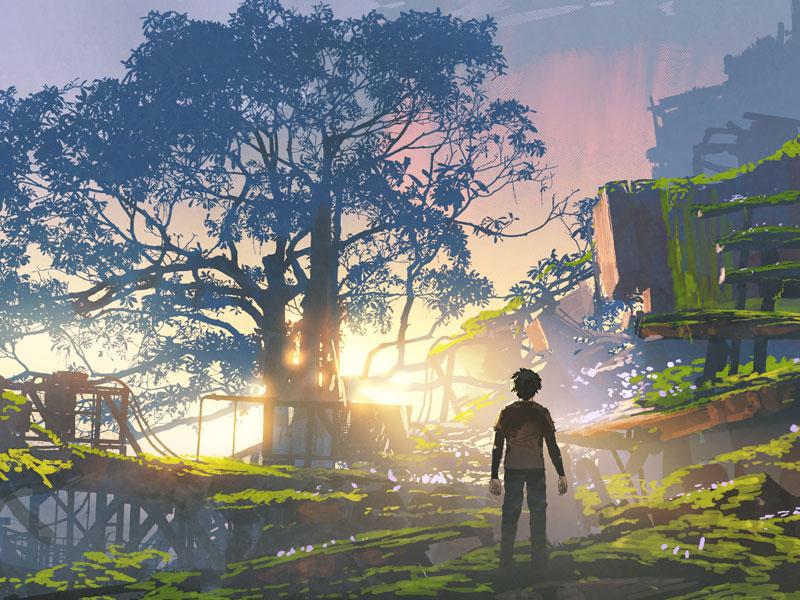 Illustration of boy looking at sun through trees